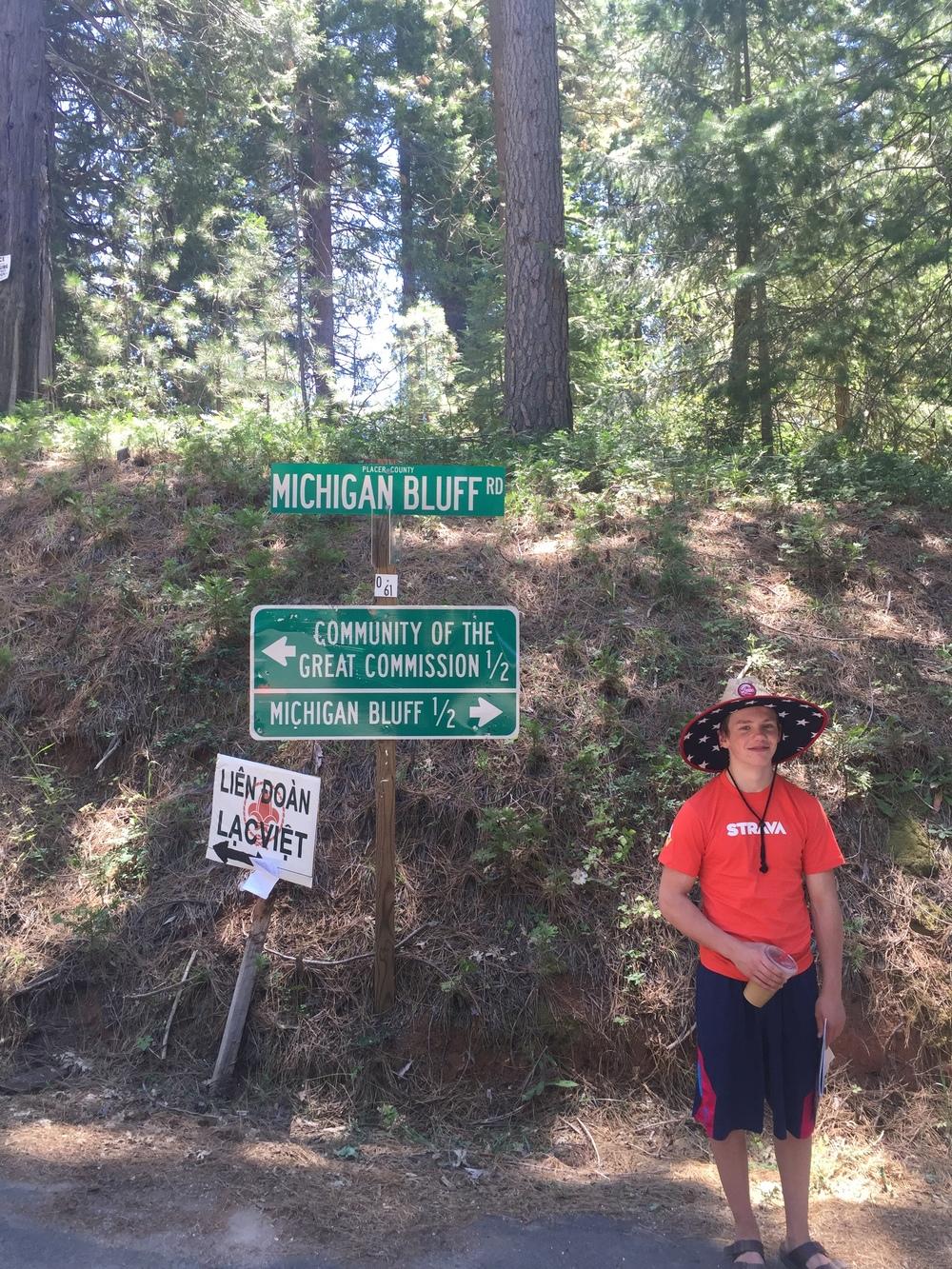 Albert waits at Michigan Bluff