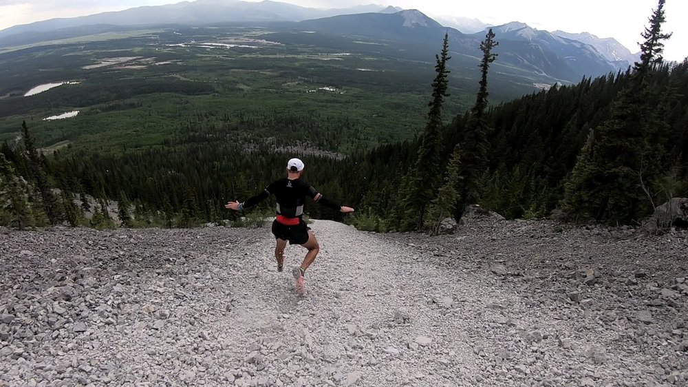 Ripping down from Yamnuska - with Devon Featherstone