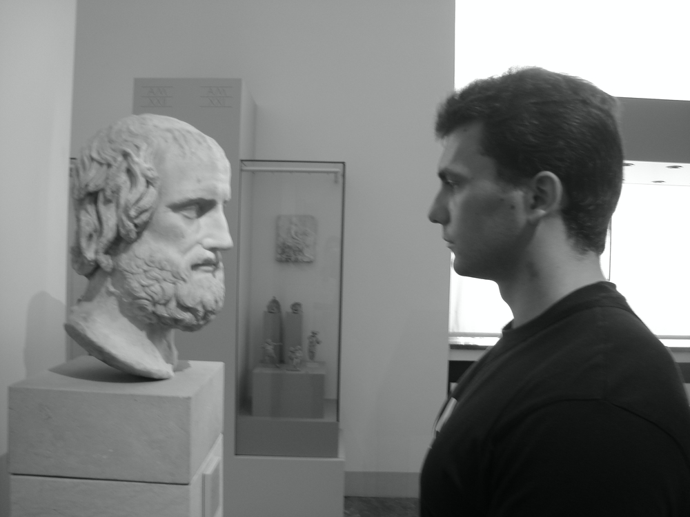 Euripides, one of my best friends and greatest heroes, who never ceases to teach and to inspire. Here I ran into him in Berlin.