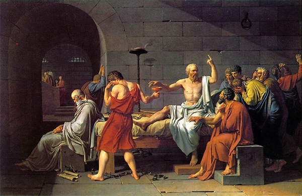 Socrates takes a final moment just before his death to remind a group of Athenians how backward they are. (Painting by Jacques-Louis David)