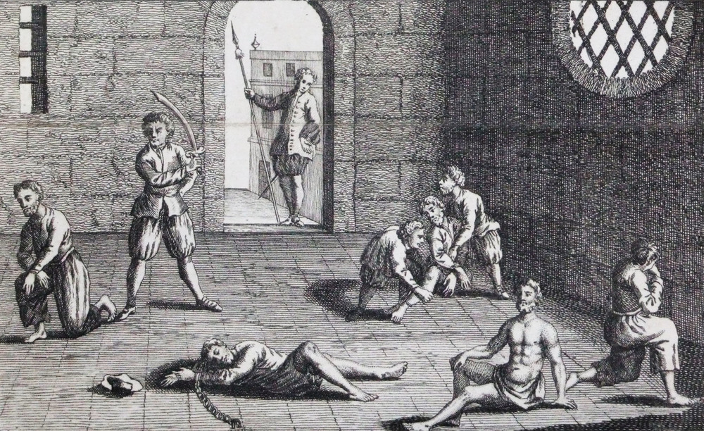 Employees of the Dutch East India Company execute a few Englishmen in Ambon, Indonesia, because they wanted their nutmeg.