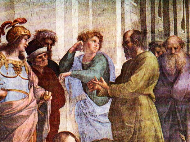 Detail from Rafael's School of Athens: Socrates trying to explain something, patiently, but knowing full well that he is smarter than the others.