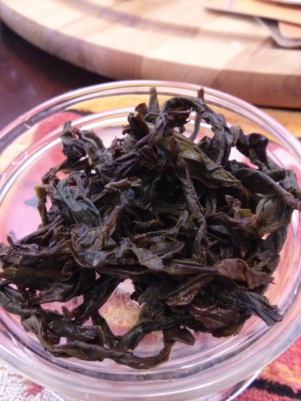 I should have put this tea in my Yixing tea pot, which would complement the roasted taste.  The leaves were large and unfurled without needing a rinse.