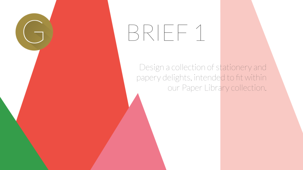 Brief 1. Design a collection of stationery and papery delights
