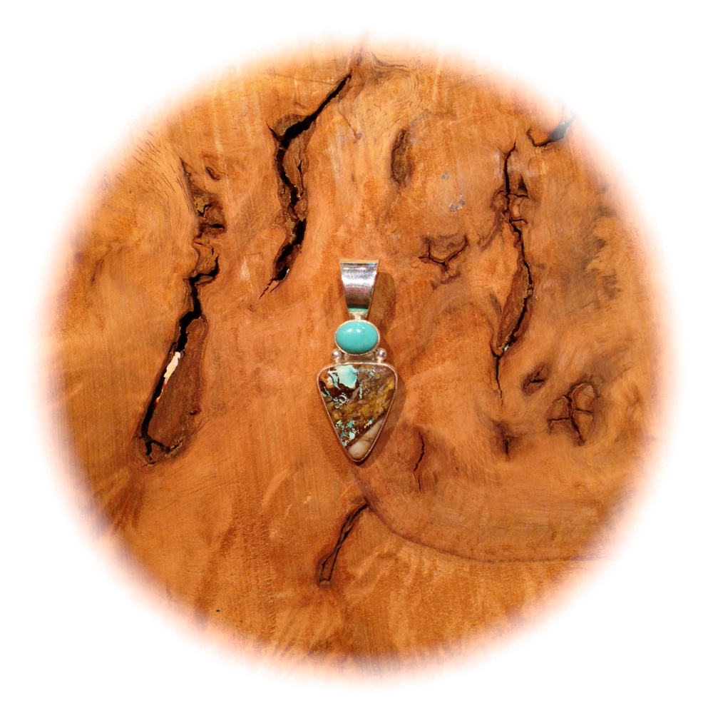 Contemporary Boulder and Kingman Turquoise Pendant, NAVAJO-MADE