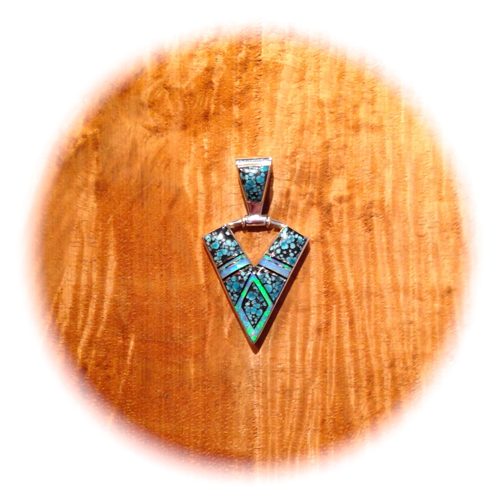 CHINA PATTERN TURQUOISE, ONYX, LAB OPAL INLAID ARROWHEAD PENDANT, NAVAJO MADE