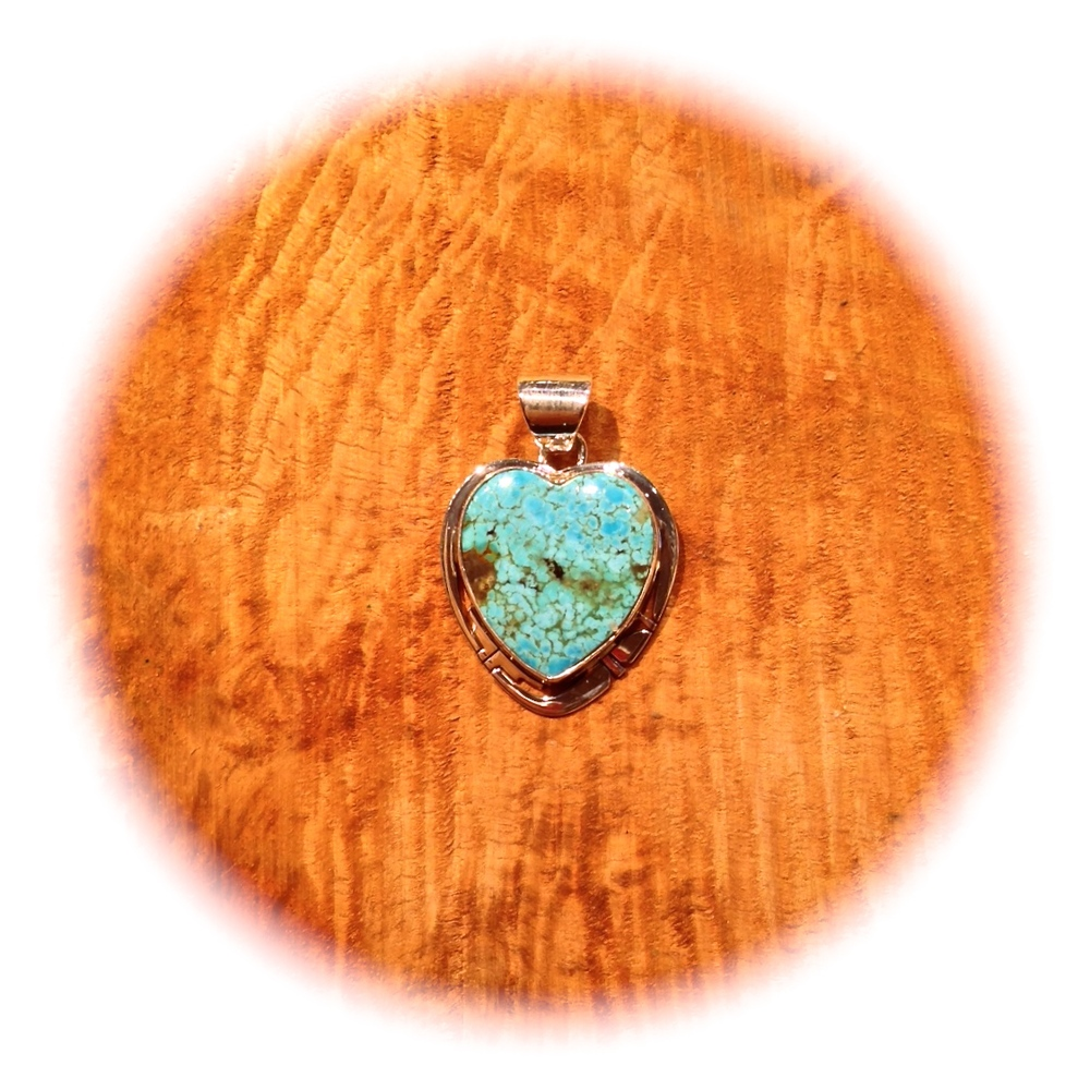MORENCI TURQUOISE HEART BY PHILIP SANCHEZ, NAVAJO