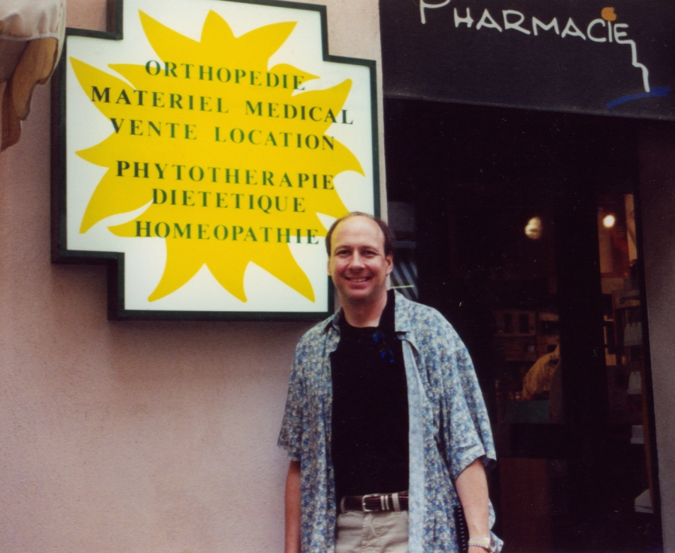 Jack Tips in Corsica visiting a homeopathic pharmacy, 2004.