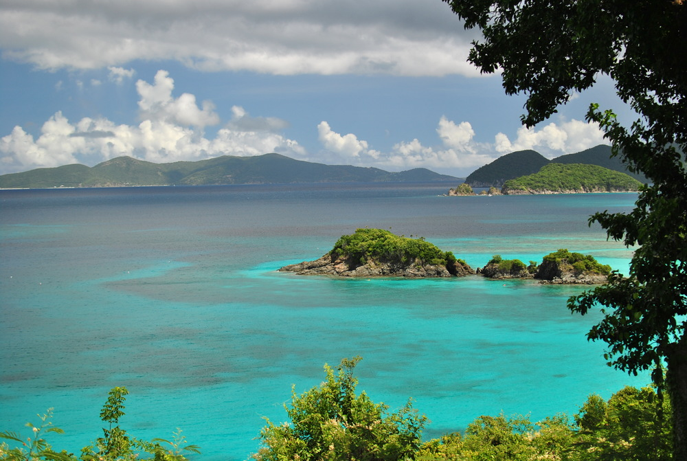 A view of Trunk Bay from the road above