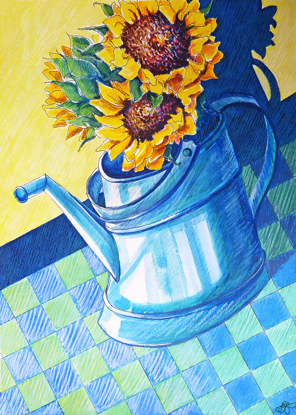 Sunflowers in a Blue Can #2