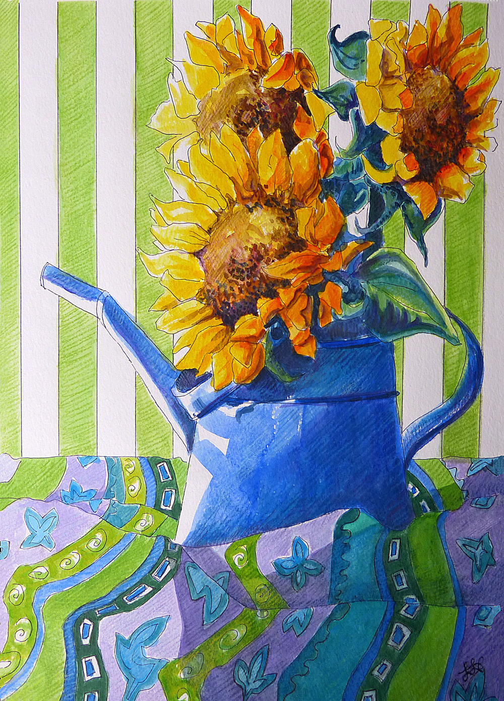 Sunflowers in a Blue Can
