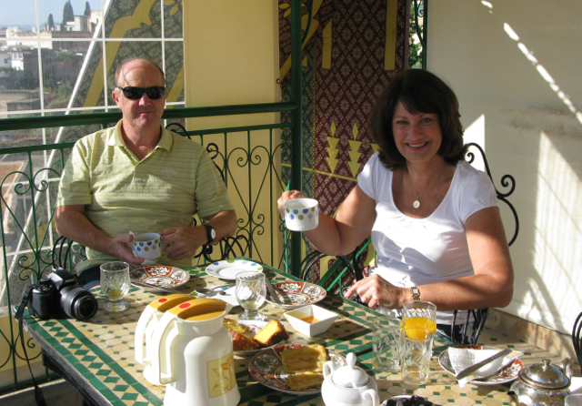 Dave and Judy enjoying our morning Breakfast ritual