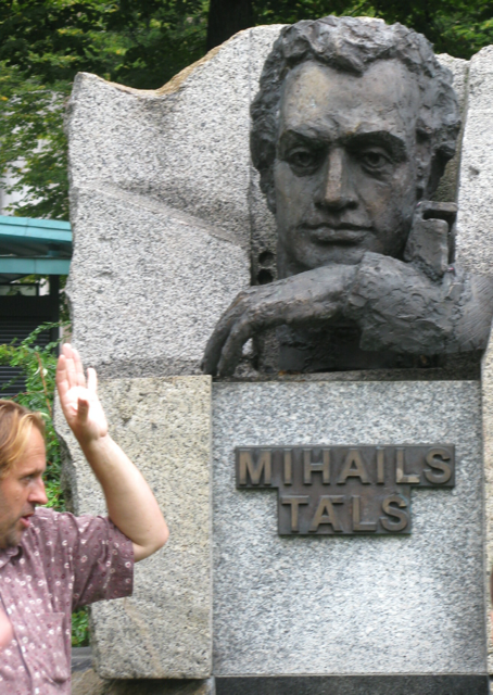 Seen here with Mikhail Tal - a local icon and world Chess Champion .