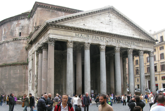 The Pantheon - This 2,000 year old temple is considered the Romans greatest architectural achievement. The largest unreinforced concrete dome ever built.