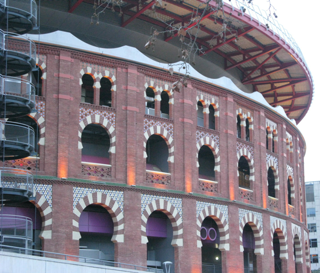 Bullfighting was banned in Catalonia 2011 and colourful bullring converted to a mall with restaurants and viewing platform on top