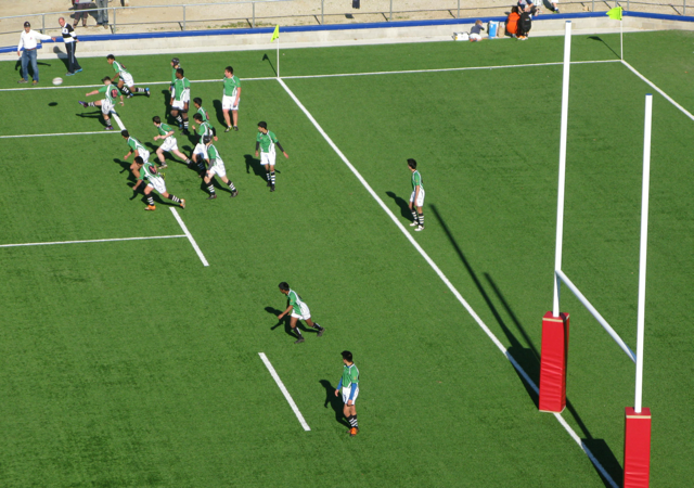 Who would have thought we'd find a game of Rugby going on in Spain - on synthetic turf too!