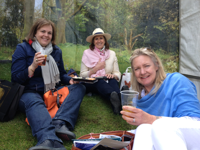 Jane, Rosie and Pip - enjoying sushi and Pimms