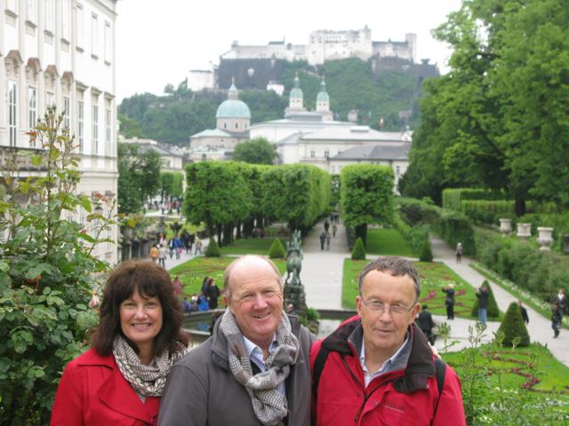 Judy, David and David in Mirabell Gardens