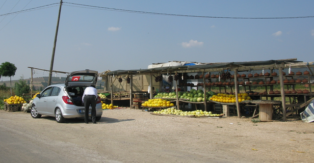 Some very basic vegetable stalls on the roadside
