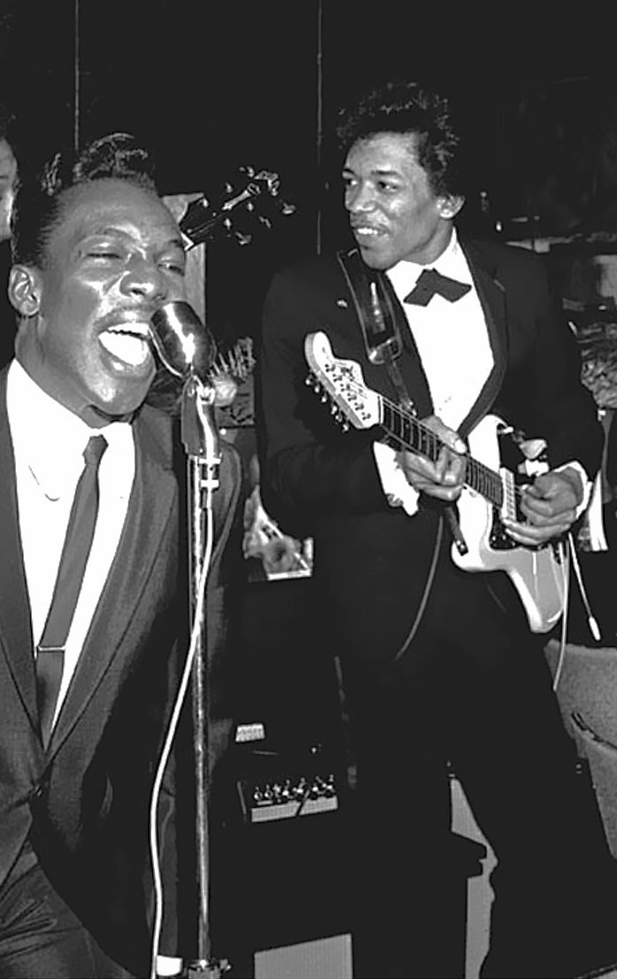 Jimi Hendrix with his custom color Jazzmaster backing Wilson Pickett in 1966