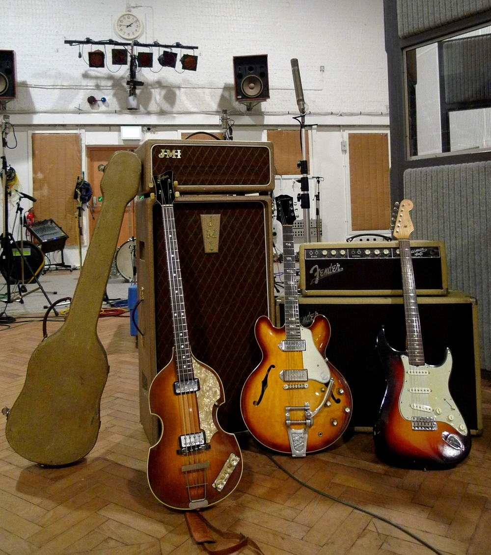 EMI Abbey Road Studio 2: 1963 Hofner Violin Bass, 1963 Epiphone Casino and 1962 Fender Stratocaster