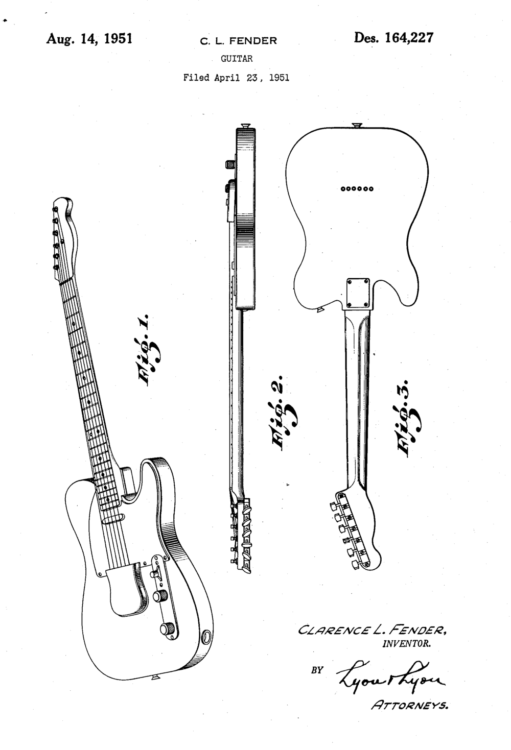 1951 Fender Telecaster Patent