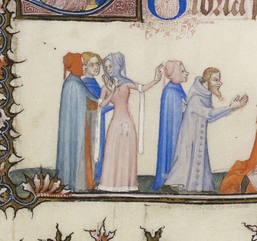 Tres Belles Heures de Notre Dame f173r Woman's Gown & Hood