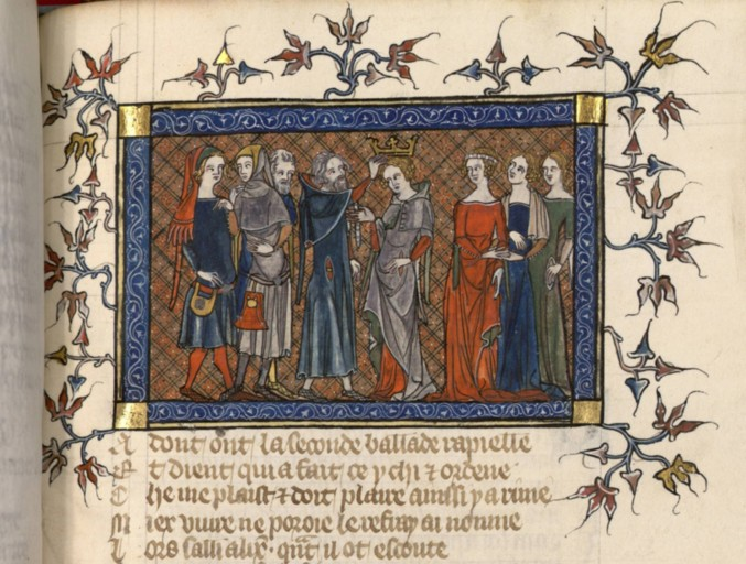 BNF Fr 12565, f257 (Coronation of Clarette) - Hood