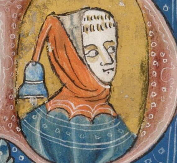 Luttrell Psalter, f28r - Hood with bell on liripipe