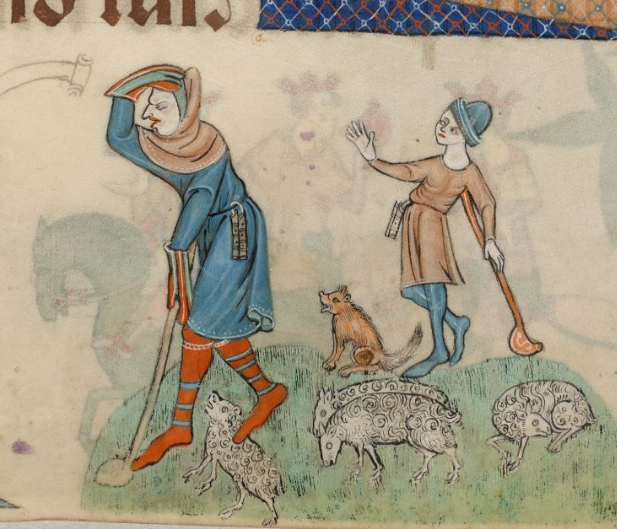 Luttrell Psalter, f87r - Men's hose, hood, & gloves