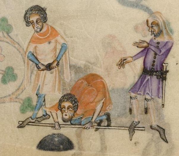 Luttrell Psalter, f158v - Man's hood & garters