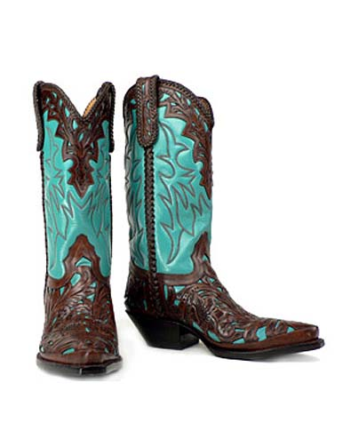 "Flore Chale - Elegant 12"" version of our hand tooled classic in turquoise."