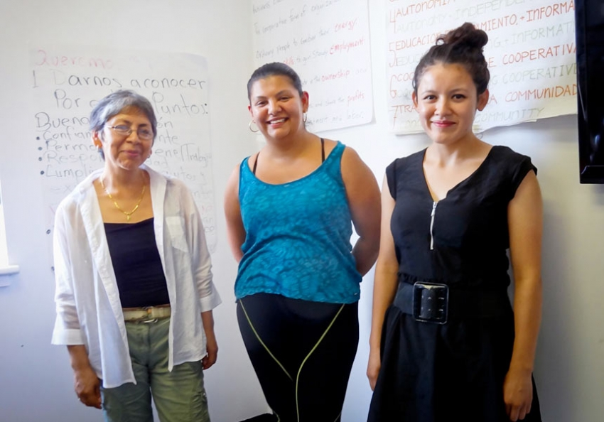 L TO R: ANGELINA CAZARES OF GOLDEN STEPS ELDER CARE CO-OP, AND DANIELA SALAZAR AND YASMIN GONZALEZ OF SI SE PUEDE. (COURTESY OF BEVERLY JUDGE)