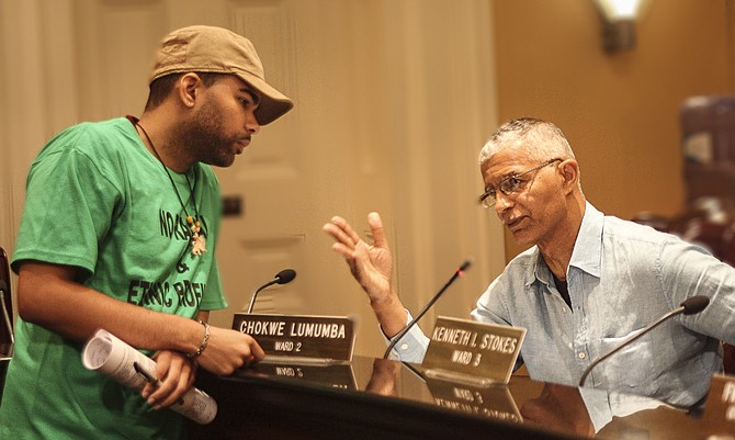 THE LATE CHOKWE LUMUMBA (RIGHT) AND HIS SON, CHOKWE A. LUMUMBA (LEFT)