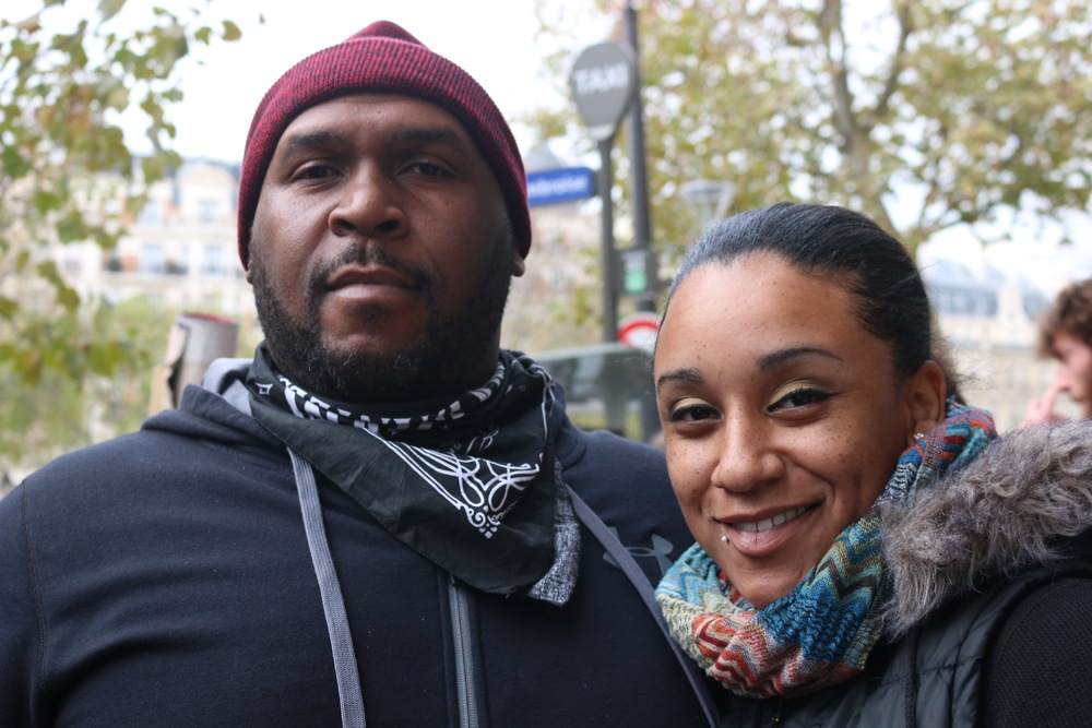 VERNON YOUNG & FA'SEYE AINA SUNNY GONZALEZ, AT THE HUMAN CHAIN ACTION WITH OVER 10,000 PEOPLE WHO DEFIED THE PROTEST BAN IN ORDER TO STAND UP FOR PEACE AND CLIMATE JUSTICE.