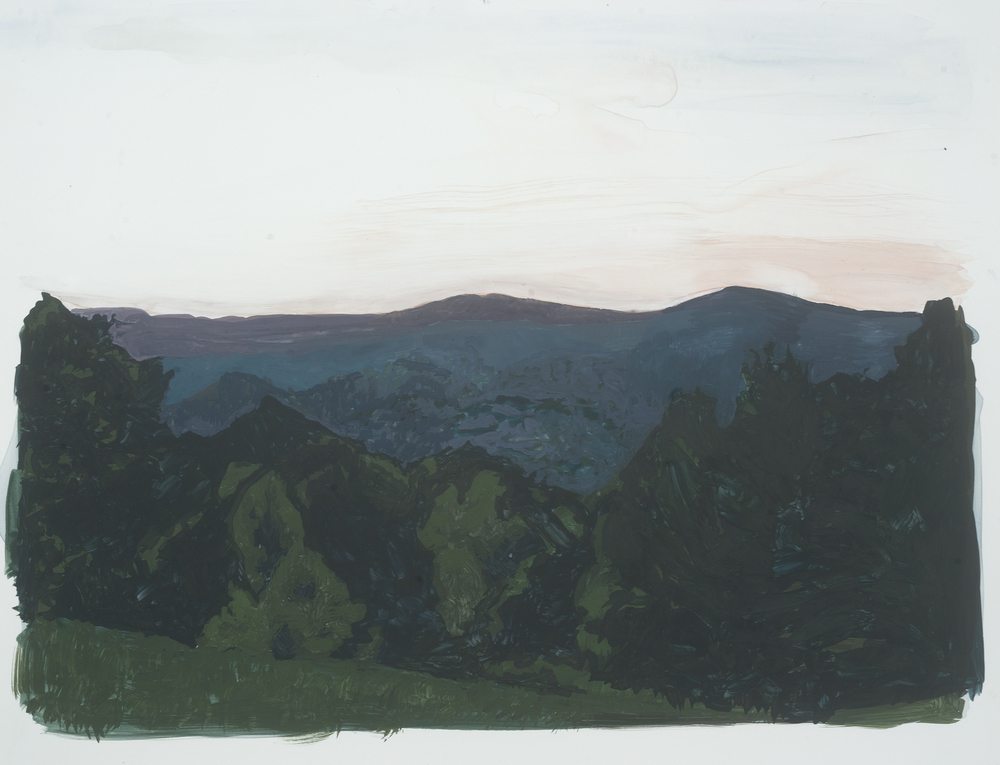 "From the Cabin, study II Gouache on Yupo 14"" x 11"" 2011"