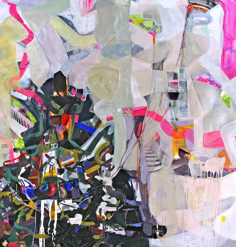 "The Worst Day Ever Acrylic, gouache, digital prints, string, tape, paper towel, stickers on Yupo paper 60""w x 66""h 2013"