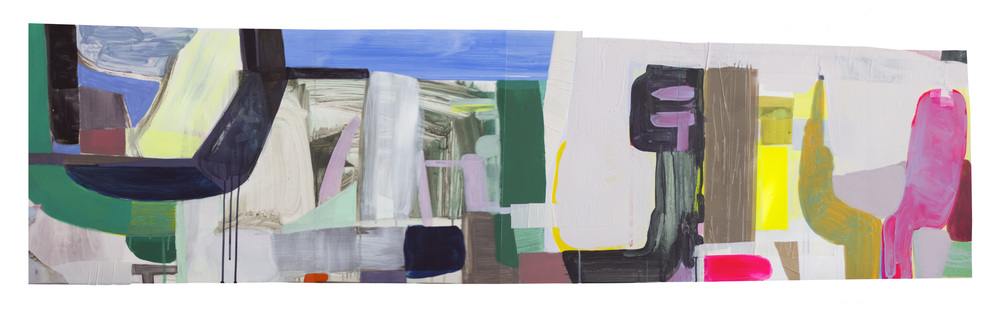 "Untitled (long piece) Acrylic, gouache, tape on Yupo 20"" x 56"" 2014"