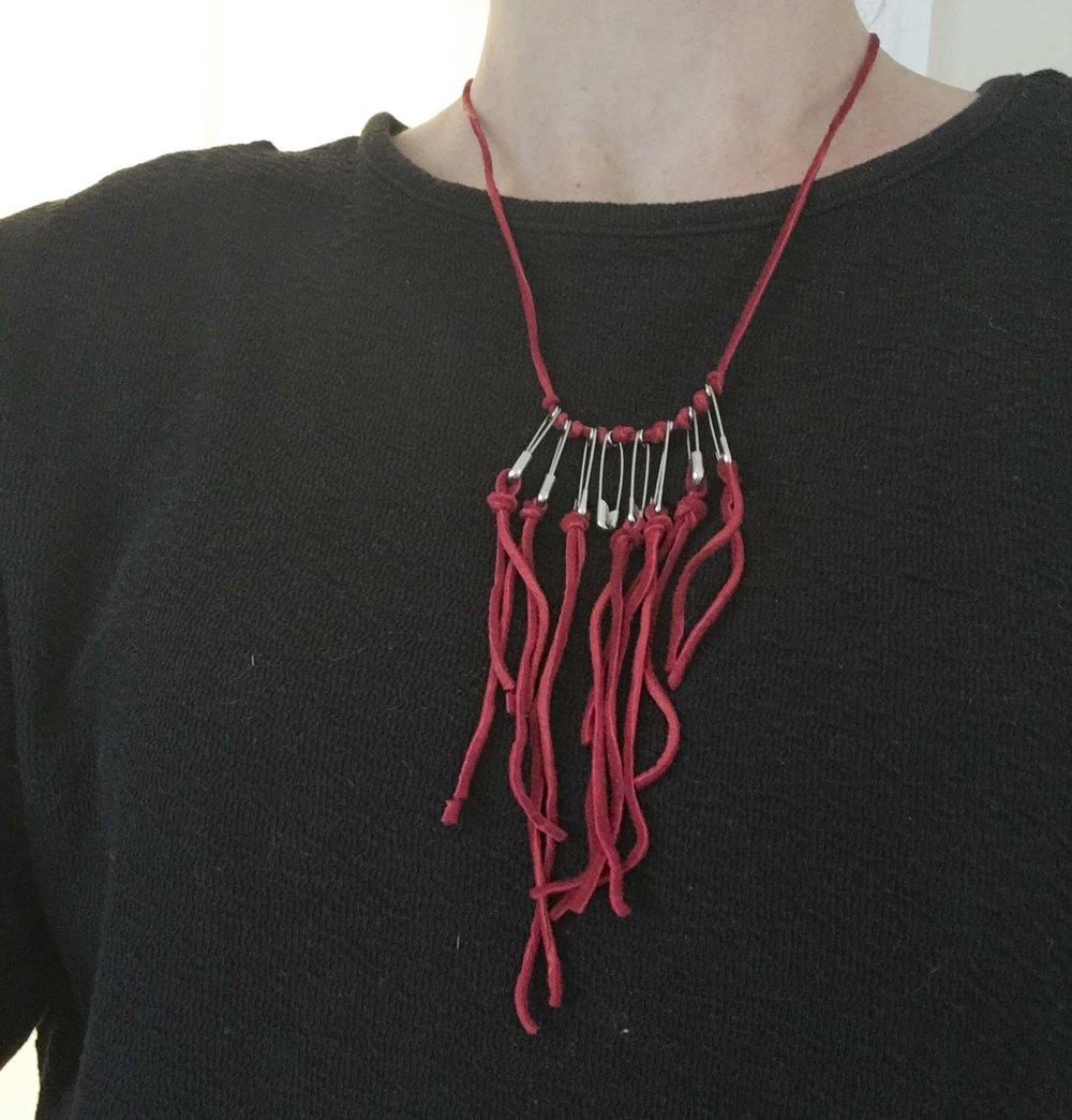 Dissent Collar #1 (deerhide, safety pins)