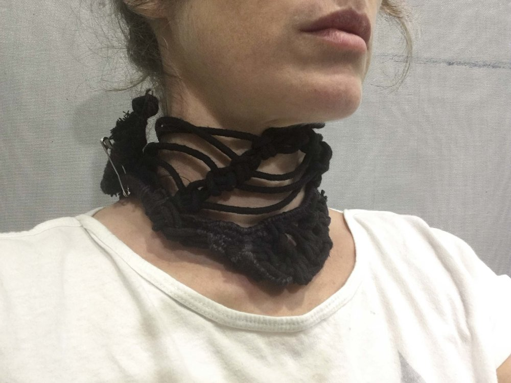 Dissent Collar #4 (Black cotton cord, wool yarn, safety pin)