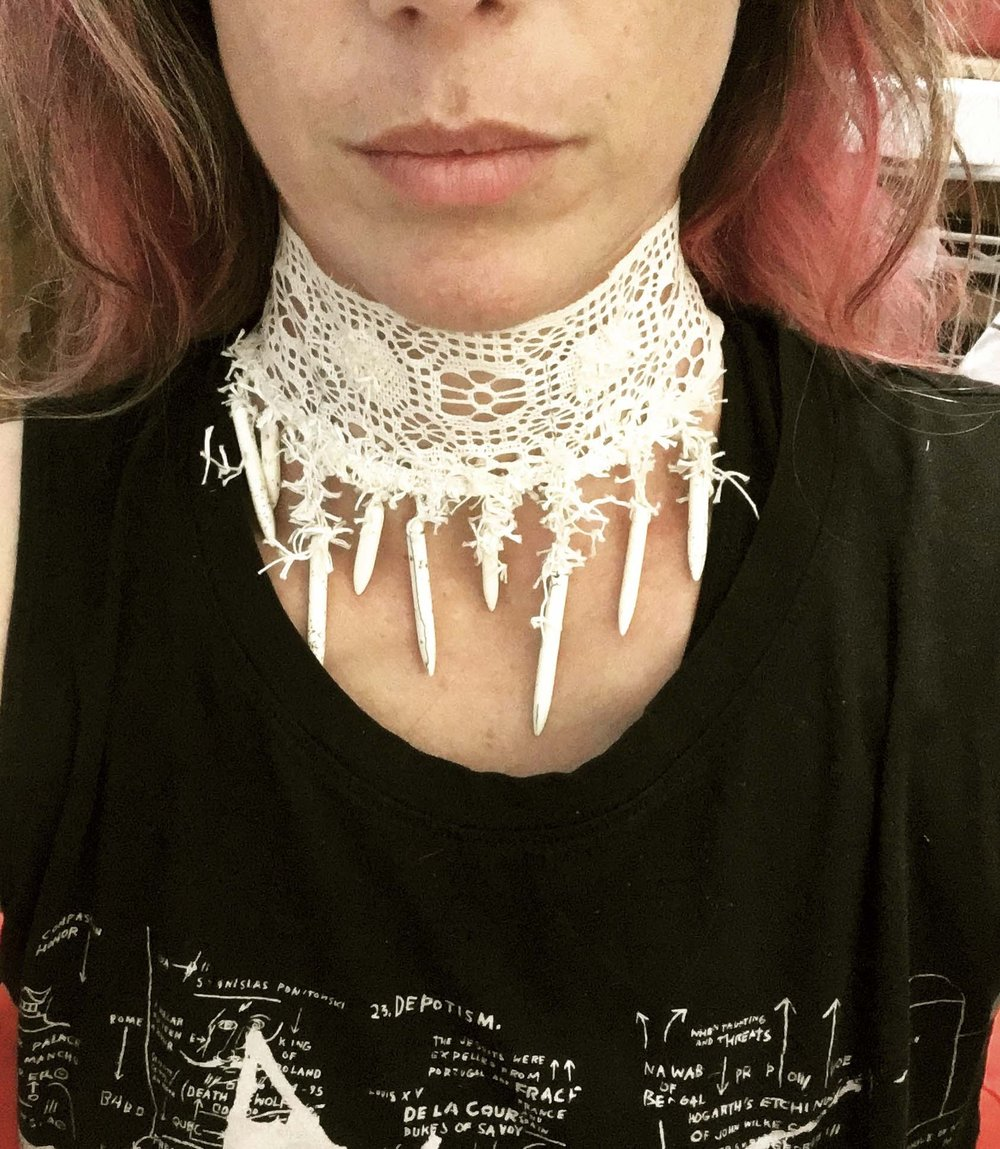 Dissent Collar #2 (Antique lace, tufted yarn, bone beads)