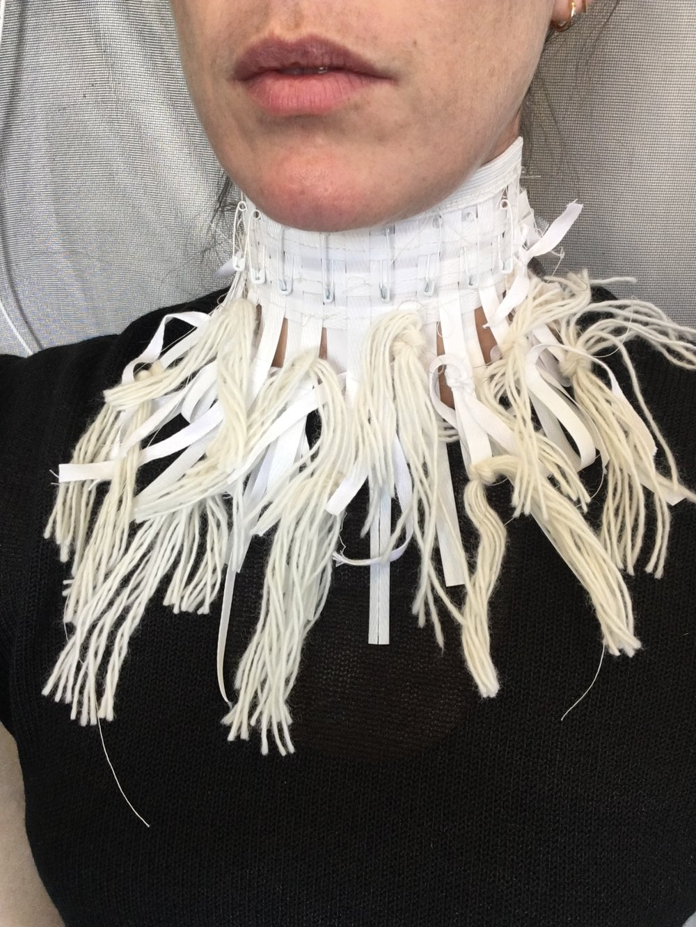 Dissent Collar #7 (Plastic strapping, yarn, thread, elastic, safety pins)