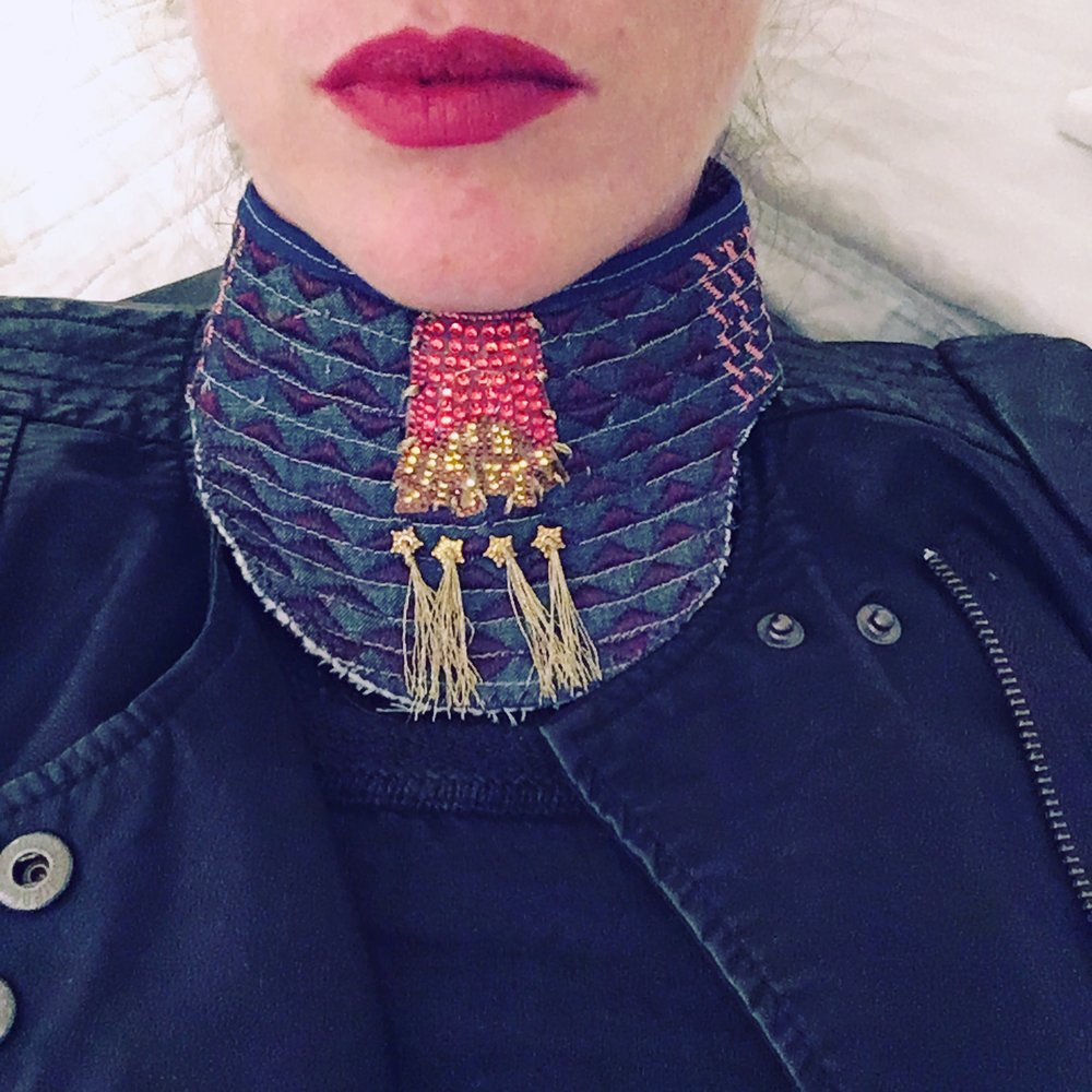 Dissent Collar #9 (Denim, thread, seam binding, wool batting, gold beads, french fry decal)