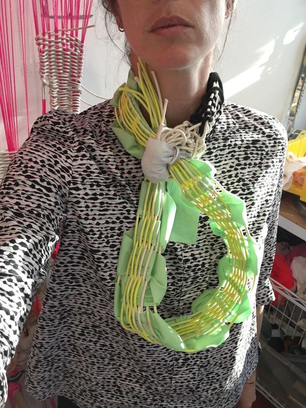 Dissent Collar #18 (seam binding, cotton rope, spray paint, thread)