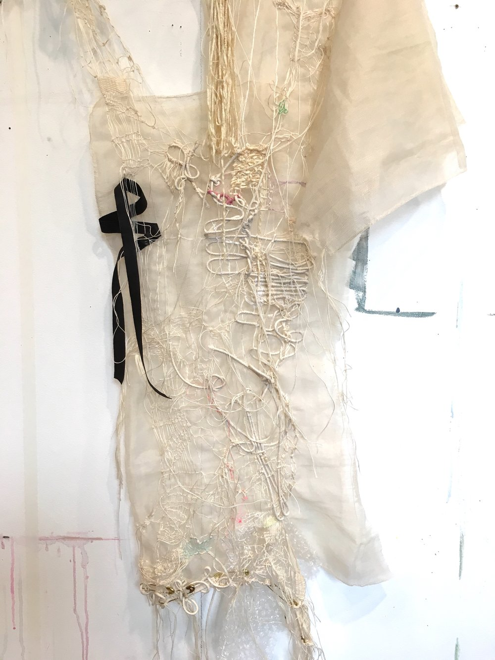 Dissent #17 (thread, cord, mesh, bubble wrap, old lace, seam binding, safety pins, elastic, foam)