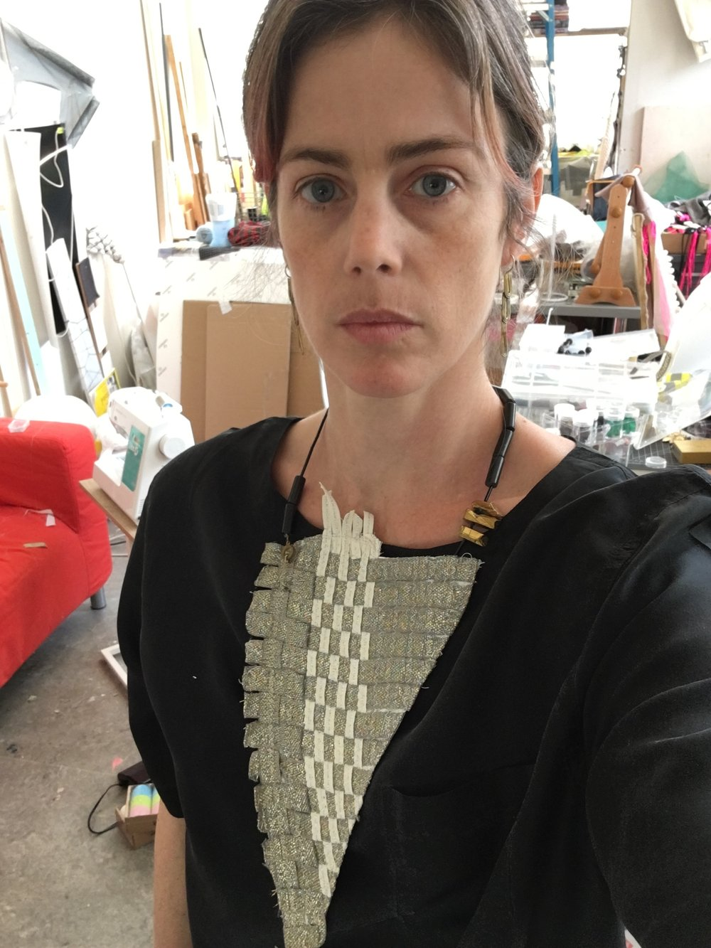 Dissent Collar #19 (seam binding, thread, ceramic and metallic beads, cotton cord)
