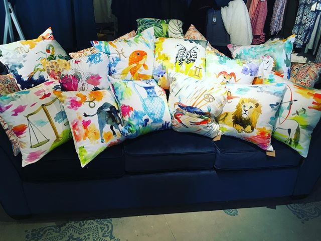 Hey baby, what's your sign? 😉@betsyolmstead zodiac pillows are back in stock, plus zodiac tea towels and other gorgeous watercolor designs. #zodiac #pillows #youresuchascorpio #mecuryretrograde #morepillows #watercolor #springhassprung