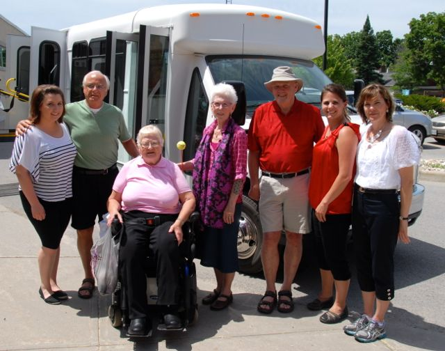 Shown with the new bus are, from left, FVM Recreation Therapist (RT) and driver Kayla Nichols, driver trainer John Montgomery, FVM Residents' Council President Muriel Currie, top donor Jenepher Hooper, Almonte General Hospital-FVM Foundation Board Chair Al Lunney, RT and driver Ashley Charlebois and RT and driver Sheila Lefebvre. Missing from the photo are RT and driver Julie Rice and AGH-FVM Assistant Director of Care and Manager of Complex Continuing Care Mary-Ellen Harris.