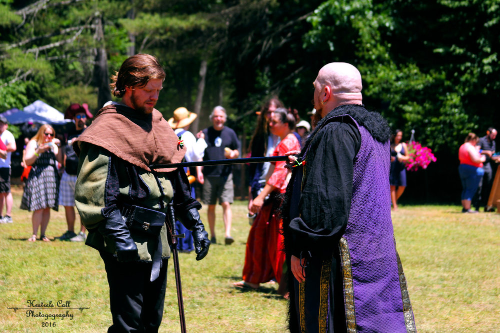 A tense moment between Robinhood and the Sheriff of Nottingham.