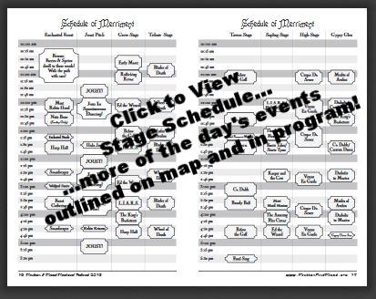 2018 Stage Schedule